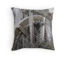Frozen Water Mill Throw Pillow