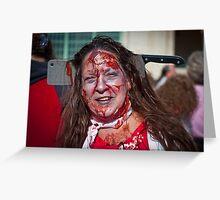 Zombie Walk Knife in Head Greeting Card