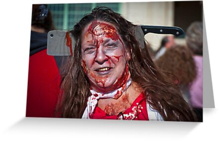 Zombie Walk Knife in Head by andykazie