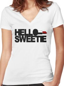 Hello Sweetie Women's Fitted V-Neck T-Shirt