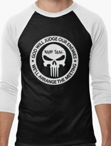 god will judge our enemies we'll arrange the meeting - white Men's Baseball ¾ T-Shirt