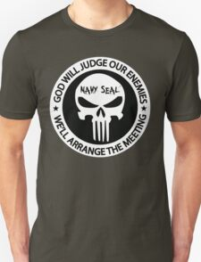 god will judge our enemies we'll arrange the meeting - white T-Shirt