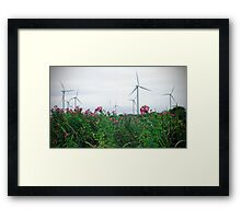 Turbines and Flowers Framed Print