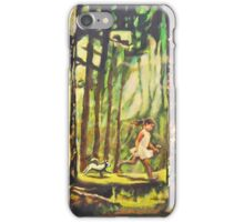Forest Path Landscape Acrylic Painting, Tree Art, Girl Dog iPhone Case/Skin