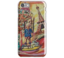 Whimsical Eiffel Tower Painting Vintage Art Child Carousel iPhone Case/Skin