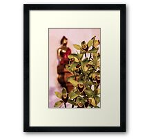 Buddha and orchids Framed Print