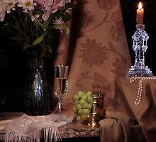 Flowers, Grapes and New Candlestick by FrankSchmidt