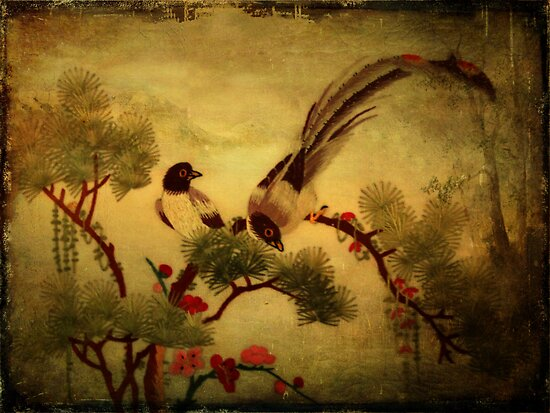 Embroidered Birds- Textured by Sandra Foster