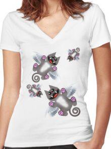 ANGEL FELINE Women's Fitted V-Neck T-Shirt