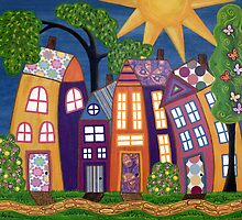 Happy Town by Lisa Frances Judd~QuirkyHappyArt