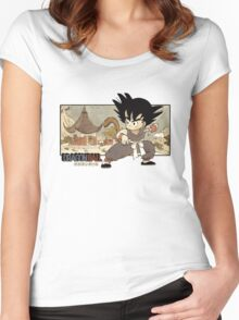 Son Goku on Mt. Paozu Women's Fitted Scoop T-Shirt