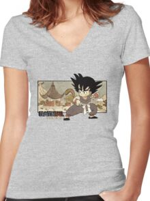 Son Goku on Mt. Paozu Women's Fitted V-Neck T-Shirt
