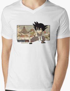 Son Goku on Mt. Paozu Mens V-Neck T-Shirt