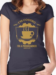 programmer : I'm coding. I am a programmer - Gold Women's Fitted Scoop T-Shirt