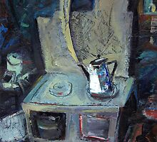 boils on the stove the old grandmother's teapot by tensil