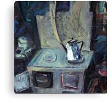 boils on the stove the old grandmother's teapot Canvas Print
