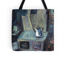 boils on the stove the old grandmother's teapot Tote Bag