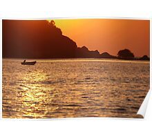 Boat at Sunset Palolem Poster