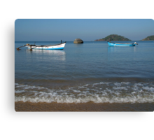 Boats Off Palolem Beach Canvas Print