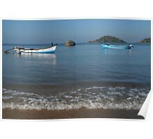 Boats Off Palolem Beach Poster