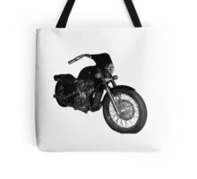A motorcycle in black and white Tote Bag