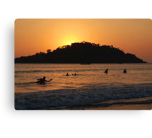 In the Sea at Sunset Palolem Canvas Print