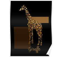 Modern Golden Giraffe, gold black brown Poster