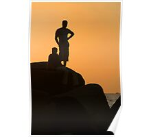 Silhouetted Figures on Rock at Sunset Palolem Poster
