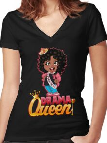Drama Queen Women's Fitted V-Neck T-Shirt