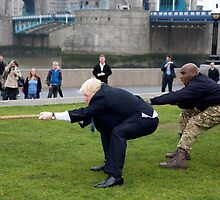 Boris Johnson takes part in a tug of war outside City Hall by Keith Larby