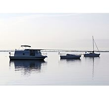 """Easy Morning. """" Anchored boats serious."""" Photographic Print"""