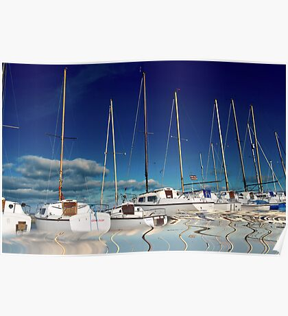 Boats in Harbour Poster