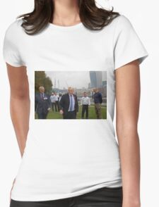 Boris Johnson takes part in a tug of war outside City Hall Womens Fitted T-Shirt