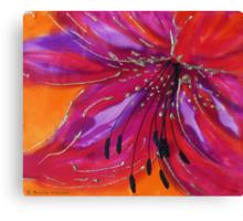 Lily on silk Canvas Print