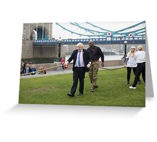 Boris Johnson takes part in a tug of war outside City Hall Greeting Card