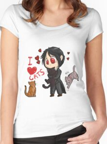 Black Butler - I love cats Women's Fitted Scoop T-Shirt