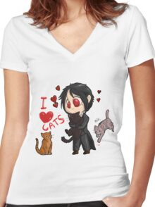 Black Butler - I love cats Women's Fitted V-Neck T-Shirt