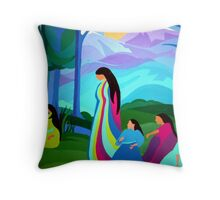 Ladies by the River Throw Pillow