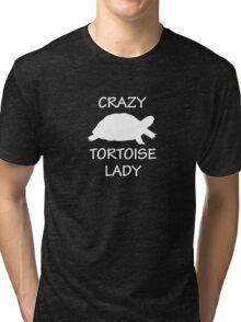 Crazy Tortoise Lady (White) Tri-blend T-Shirt