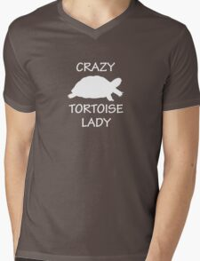 Crazy Tortoise Lady (White) Mens V-Neck T-Shirt