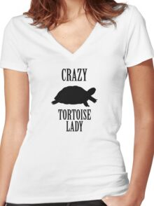 Crazy Tortoise Lady (Black) Women's Fitted V-Neck T-Shirt
