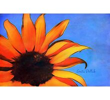 Painted Sunflower with Bee Photographic Print
