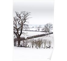Snow covered fields, Buckinghamshire Poster