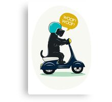 Scottish terrier riding a scooter Canvas Print