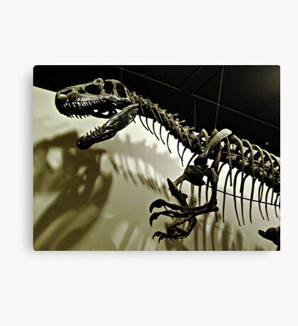 Raptor Skeleton and Scary Shadows Canvas Print