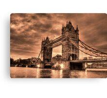 Tower Bridge Sepia Canvas Print