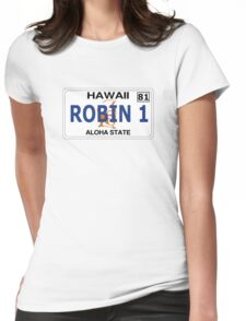 """Robin 1""  Magnum Hawaii Plate Womens Fitted T-Shirt"