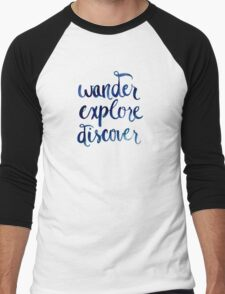 Wander, Explore, Discover Men's Baseball ¾ T-Shirt