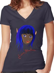 Fairy Bluehair Scarf, etc. design Women's Fitted V-Neck T-Shirt