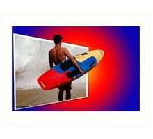 Surfing into the Sunset Art Print